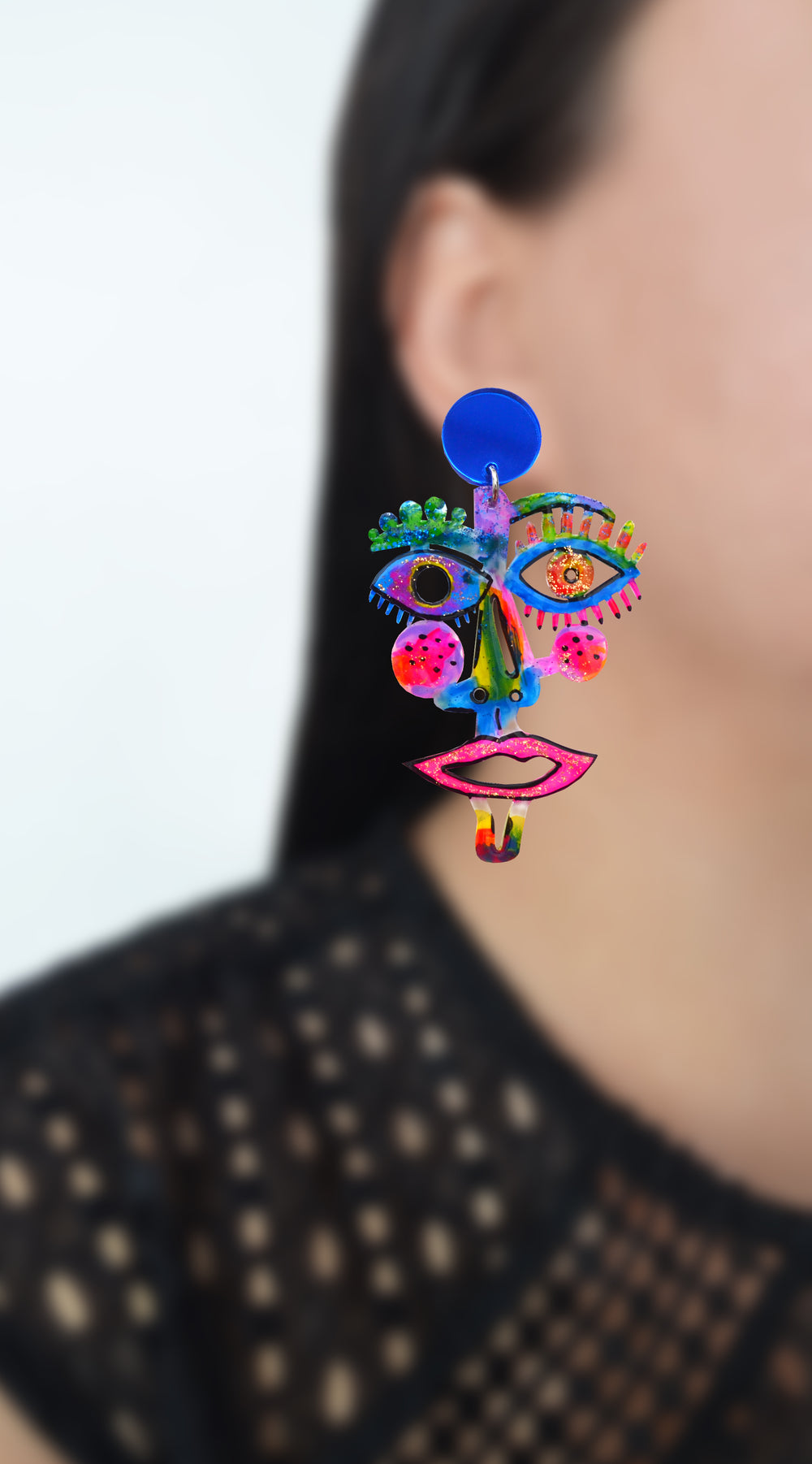 Electric Blue and Hot Pink Laser Cut Face Earrings