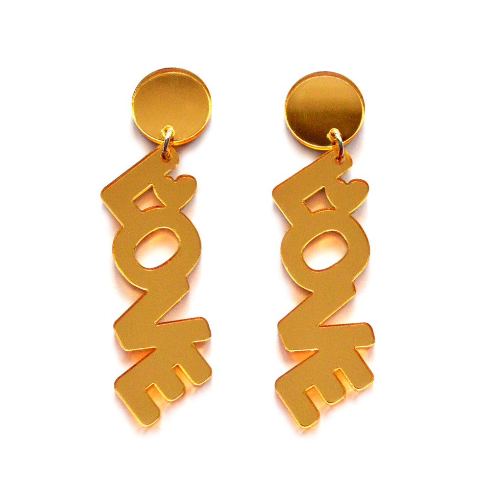 Gold Love Text Metallic Laser Cut Acrylic Statement Earrings