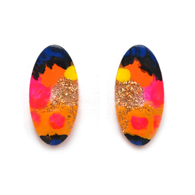 Orange and Pink Abstract Art Oval Resin Stud Earrings