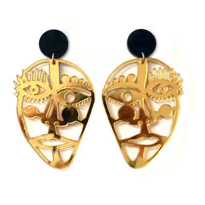 Gold or Silver Acrylic Laser Cut Face Earrings