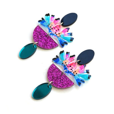 Abstract Art Flower Resin Glitter Acrylic Earrings, Laser Cut Jewelry