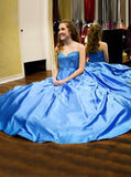A-line Satin Floor Length Prom Dress,Beaded Sweetheart Prom Dress,Elegant Graduation Dress PD00150
