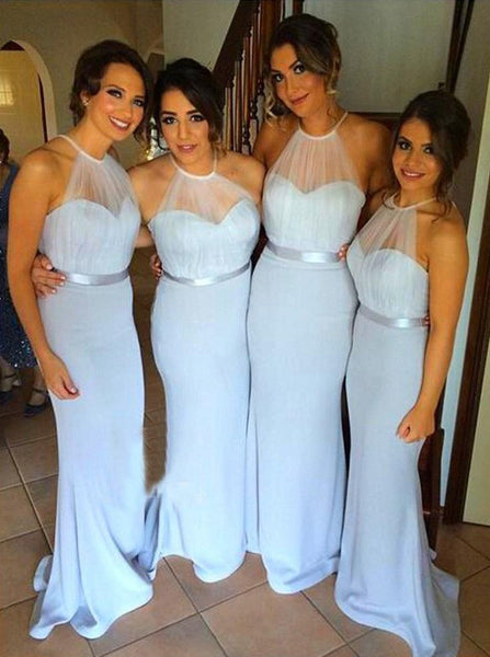 SkyBlue Bridesmaid Dress,Halter Satin Bridesmaid Dress,Long Bridesmaid Dress,BD00155