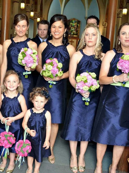 Dark Navy Bridesmaid Dress,Tea Length Bridesmaid Dress,Taffeta Bridesmaid Dress,BD00095