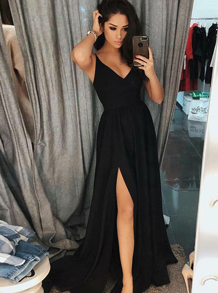Simple Black Prom Dress with Straps,Modest Evening Dress with Slit,Long Chiffon Prom Dress PD00082