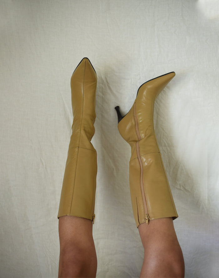 Vintage Tan Suede Loafers