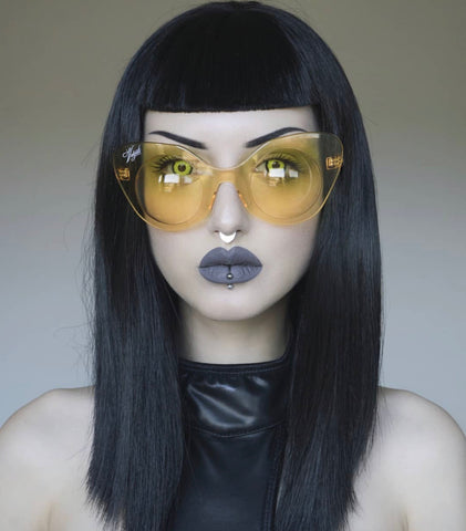 Obsidian one of our fav goth models, wearing the vampish vulgati bubble sunglasses