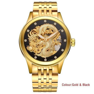 3D Carving Dragon Gold Skeleton Watch Luxury Diamond Automatic Movement