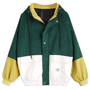 Long Sleeve Corduroy Patchwork Oversize Jacket Couple jacket