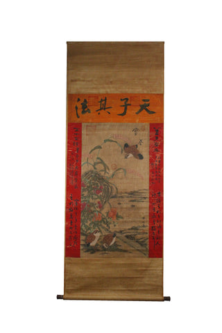 GA072 100% HAND PAINTED FLOWER BIRD CHINESE TRADITIONAL  INK SCROLL PAINTING