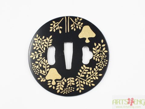 TE023 JAPANESE KATANA IRON TSUBA WITH PATTERN