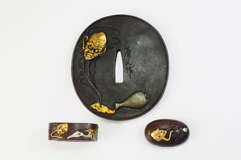 TFK014 LONG NECK DEVIL TSUBA FUCHI KASHIRA