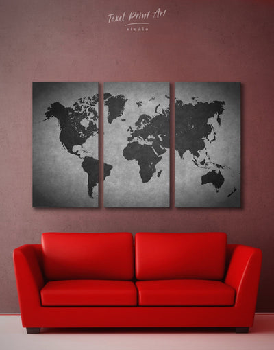 3 Piece Grey Wall Art Canvas Print - 3 Panels Abstract Abstract map abstract world map wall art black and grey wall art