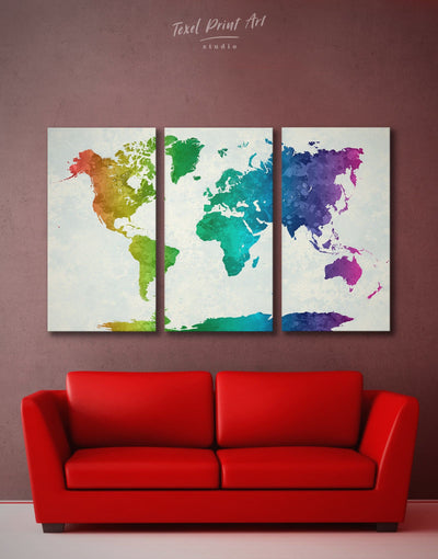 3 Pieces Rainbow Map Wall Art Canvas Print - 3 Panels Abstract map abstract world map wall art bedroom Living Room