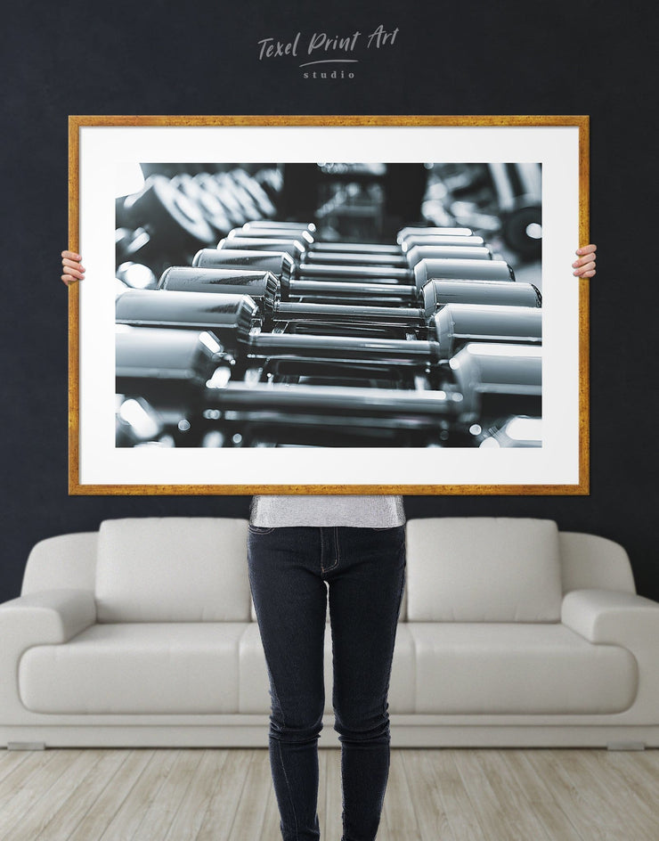 Framed Sports Gym Wall Art Print - bachelor pad Black black and grey wall art black and silver wall art framed
