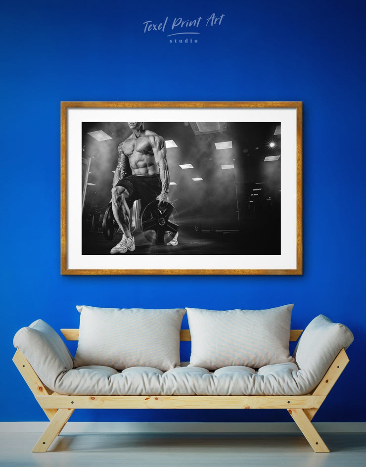 Framed Sports Wall Art Print - black and white framed wall art black and white wall art framed print framed wall art Home Gym