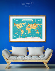 Framed World Map with Animals Wall Art Print