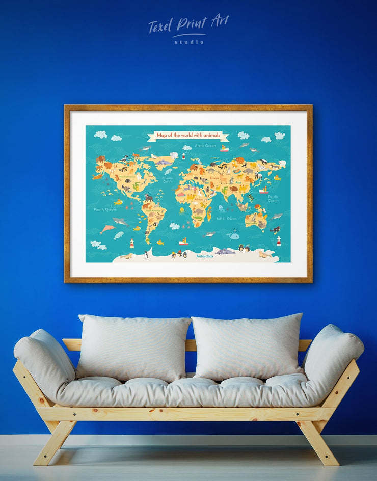 Framed World Map with Animals Wall Art Print - Abstract map abstract world map wall art framed print framed world map print Kids room