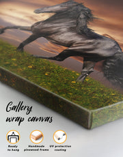 Running Black Horse Wall Art Canvas Print