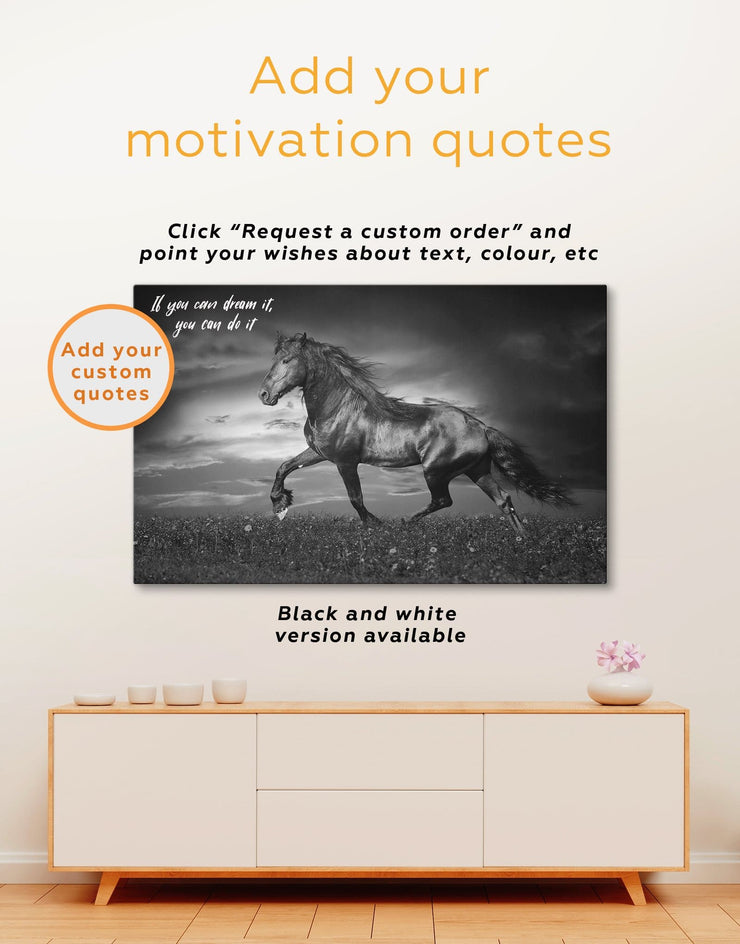 Running Black Horse Wall Art Canvas Print - 1 panel Animal bedroom Farmhouse horse wall art