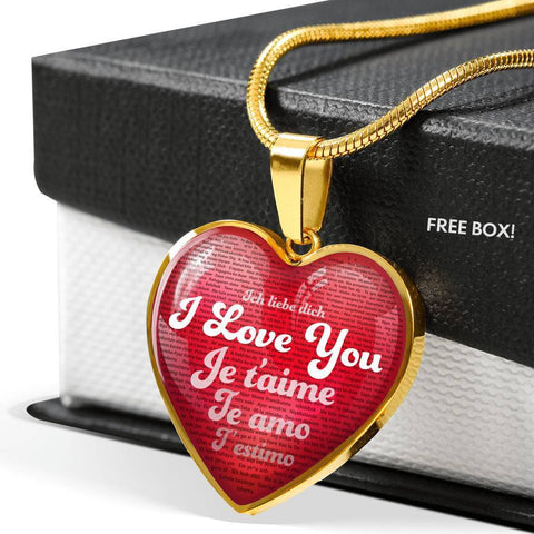 Jewelry Luxury Necklace & Red Heart Pendant - I Love You in 100 Languages | Kadance Shop ShineOn Fulfillment