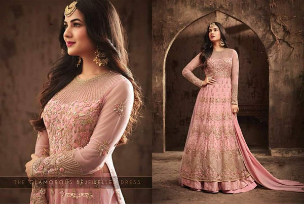 Pink Heavy Net Gown with Embroidery And Diamond