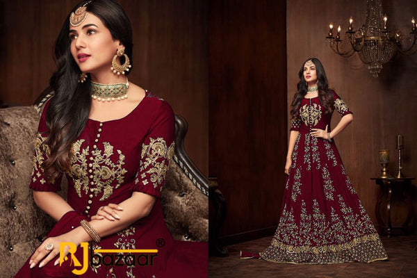 Red Gown Georgette With Embroidery And Diamond