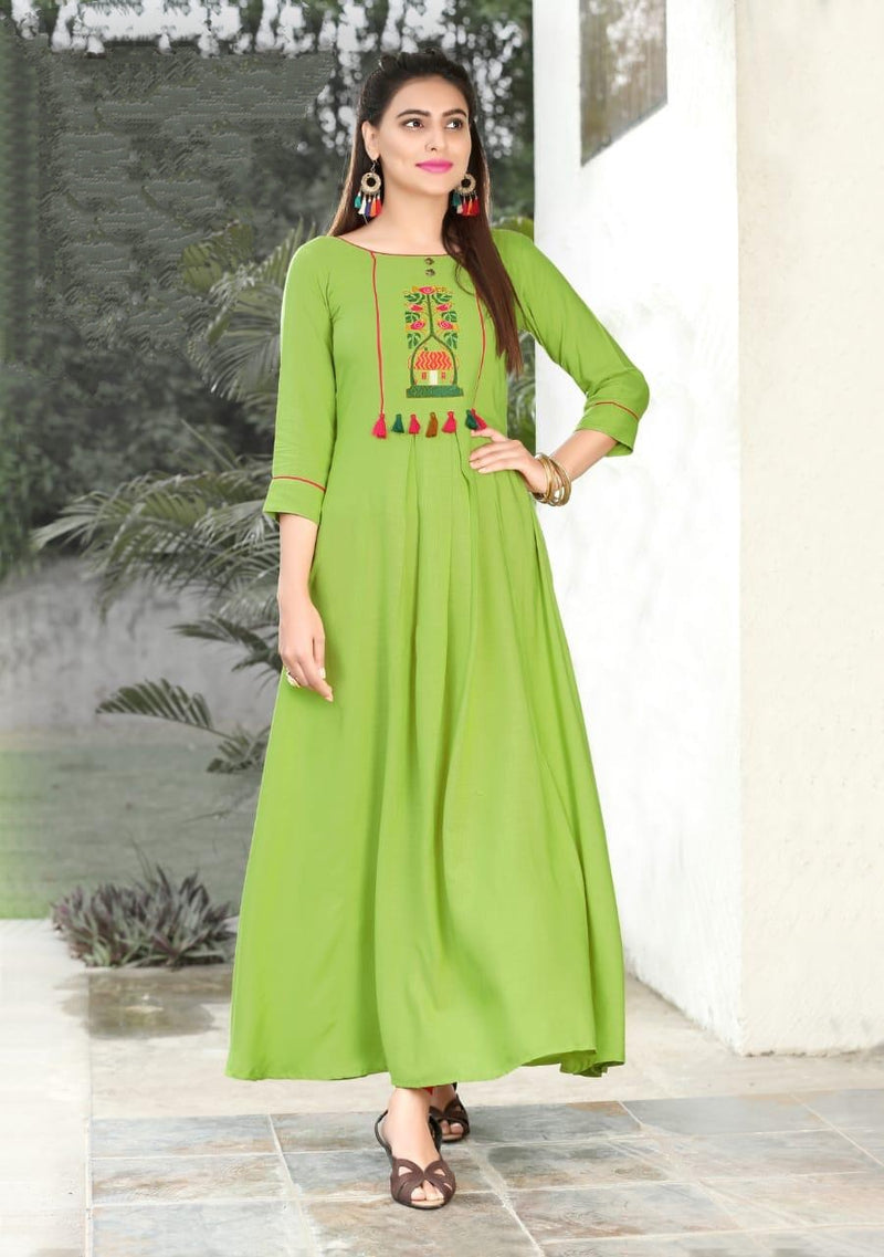 Heavy Slub Rayon Full Steach Lime Colour Kurti