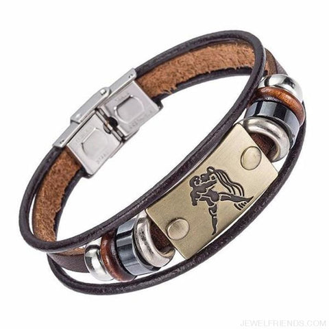 12 Zodiac Signs Bracelet With Stainless Steel Clasp Leather Bracelet - 1 - Custom Made | Free Shipping