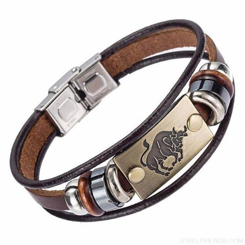 12 Zodiac Signs Bracelet With Stainless Steel Clasp Leather Bracelet - 11 - Custom Made | Free Shipping