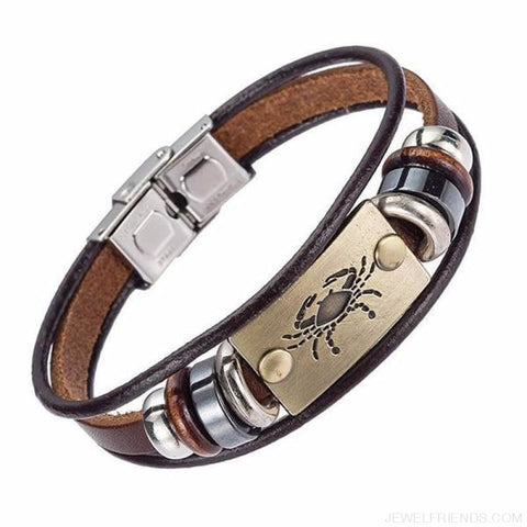 12 Zodiac Signs Bracelet With Stainless Steel Clasp Leather Bracelet - 3 - Custom Made | Free Shipping