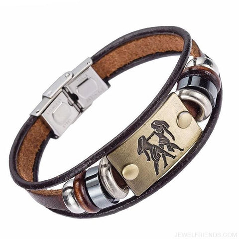 12 Zodiac Signs Bracelet With Stainless Steel Clasp Leather Bracelet - Custom Made | Free Shipping