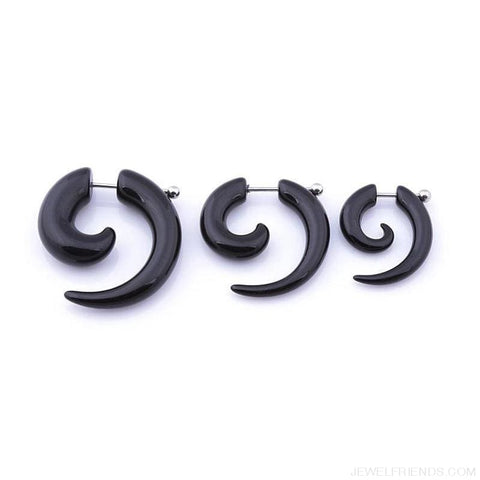 Black Fake Spiral Snail Earrings - Custom Made | Free Shipping