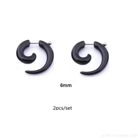 Black Fake Spiral Snail Earrings - R245X2 - Custom Made | Free Shipping