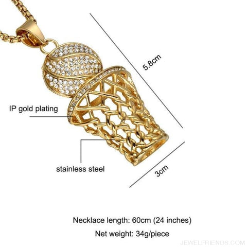 Bling Iced Out Basketball Pendants Necklaces - Gold - Custom Made | Free Shipping