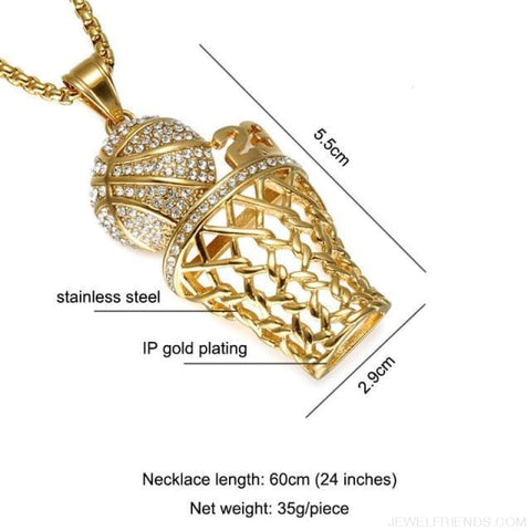 Bling Iced Out Basketball Pendants Necklaces - N0.23 Gold - Custom Made | Free Shipping