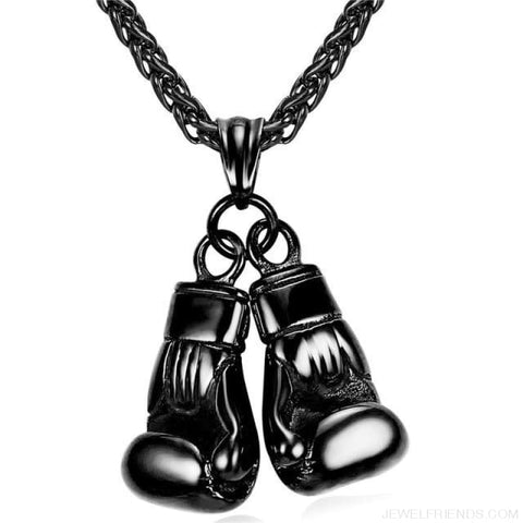 Boxing Glove Pair Pendant Chain Necklace - Black Gun Plated / China - Custom Made | Free Shipping