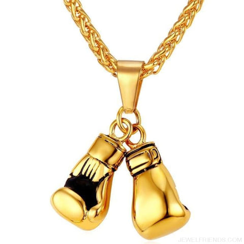 Boxing Glove Pair Pendant Chain Necklace - Gold-Color / China - Custom Made | Free Shipping