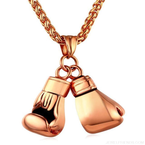 Boxing Glove Pair Pendant Chain Necklace - Rose Gold Color / China - Custom Made | Free Shipping