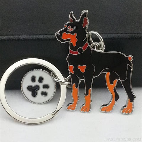 Cartoonish Dog Breed Keychains - Dobermann Dog - Custom Made | Free Shipping