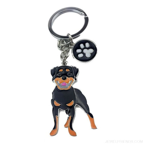 Cartoonish Dog Breed Keychains - Rottweiler Dog - Custom Made | Free Shipping