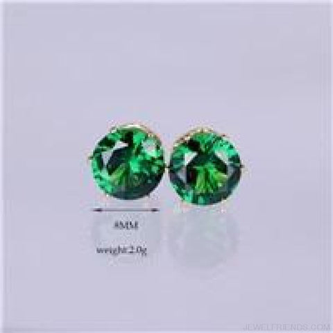 Cubic Zirconia 8Mm Stud Earrings - Gold Green - Custom Made | Free Shipping