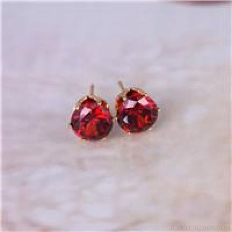 Cubic Zirconia 8Mm Stud Earrings - Gold Red - Custom Made | Free Shipping