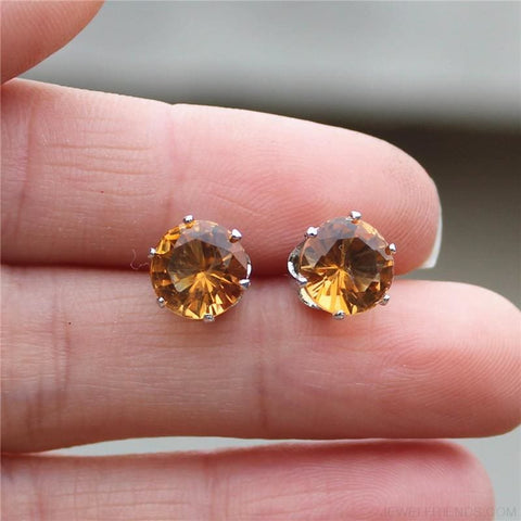 Cubic Zirconia 8Mm Stud Earrings - Custom Made | Free Shipping