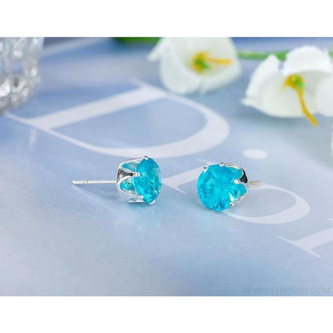 Cubic Zirconia 8Mm Stud Earrings - Silver Lake Blue - Custom Made | Free Shipping