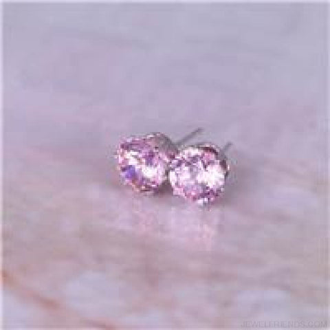 Cubic Zirconia 8Mm Stud Earrings - Silver Pink - Custom Made | Free Shipping