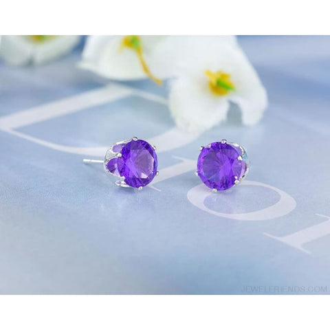 Cubic Zirconia 8Mm Stud Earrings - Silver Purple - Custom Made | Free Shipping
