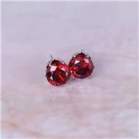 Cubic Zirconia 8Mm Stud Earrings - Silver Red - Custom Made | Free Shipping