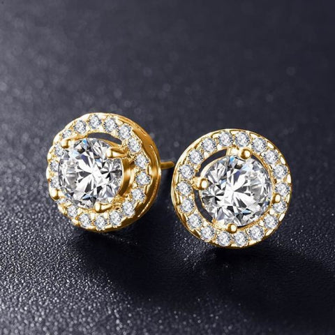 Elegant Round Silver Color Aaa Cubic Zirconia Stone Earrings - Gold Color - Custom Made | Free Shipping