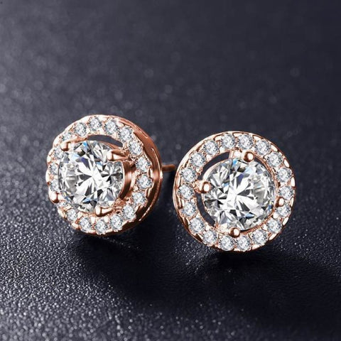 Elegant Round Silver Color Aaa Cubic Zirconia Stone Earrings - Rose Gold Color - Custom Made | Free Shipping